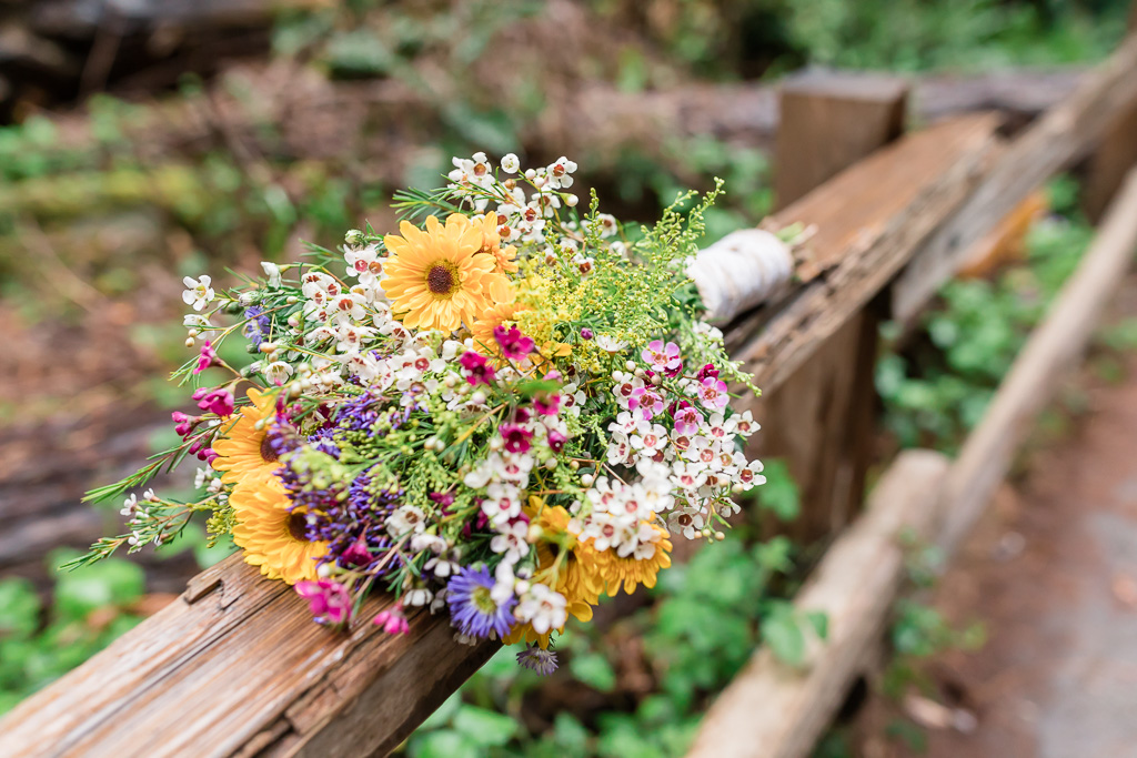 wildflower bouquet made by the bride on the morning of their muir woods wedding day