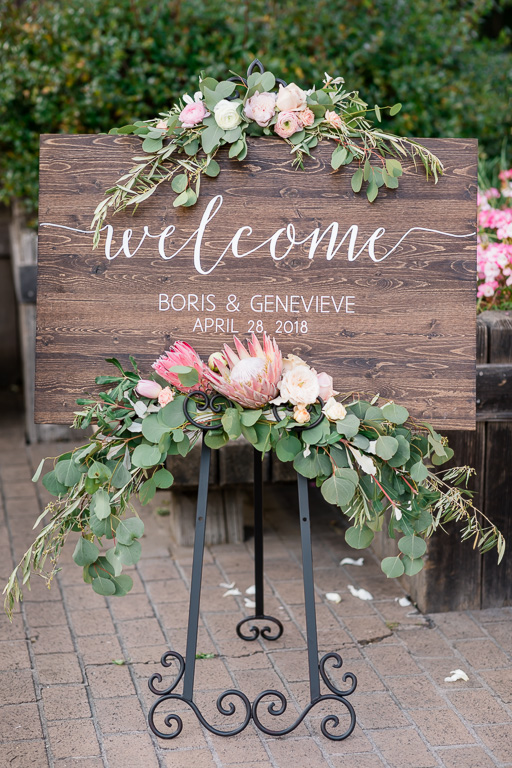 pretty customized wooden wedding welcome sign