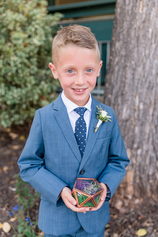 ring bearer and his cute little glass ring box