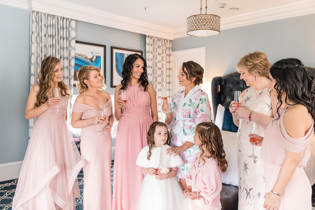 a heartfelt wedding toast during bride's getting ready at the Claremont Hotel