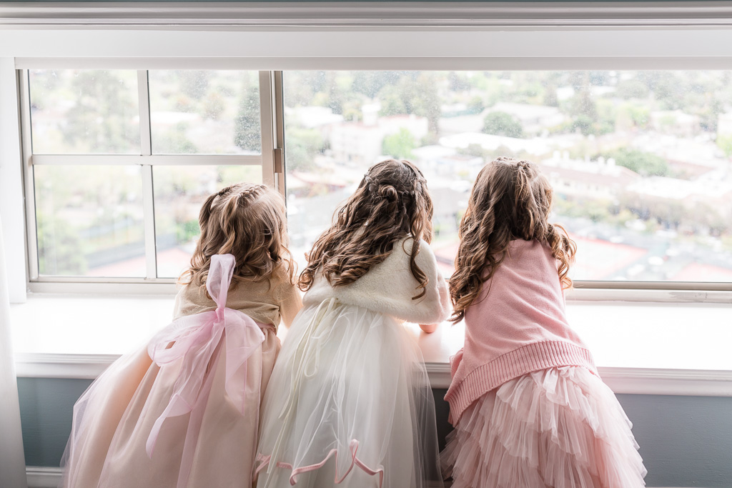 precious moment of the three little flower girls at Claremont Hotel & Spa