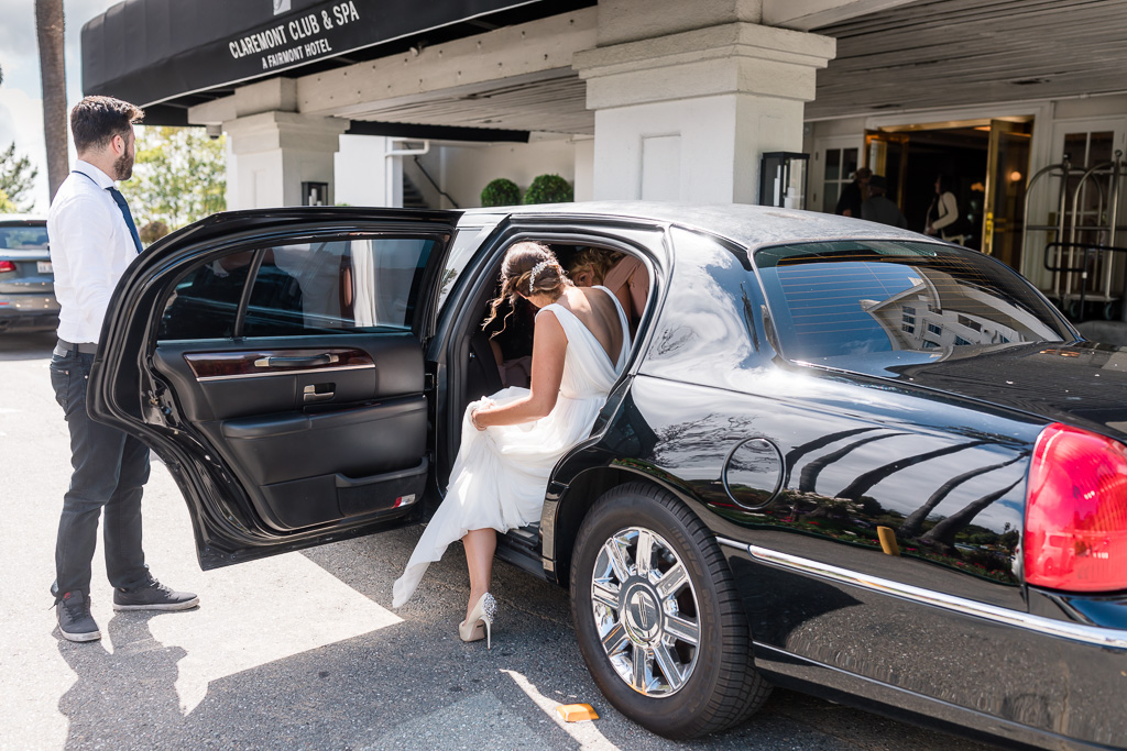 limo picking the bride up at the Claremont Hotel & Spa