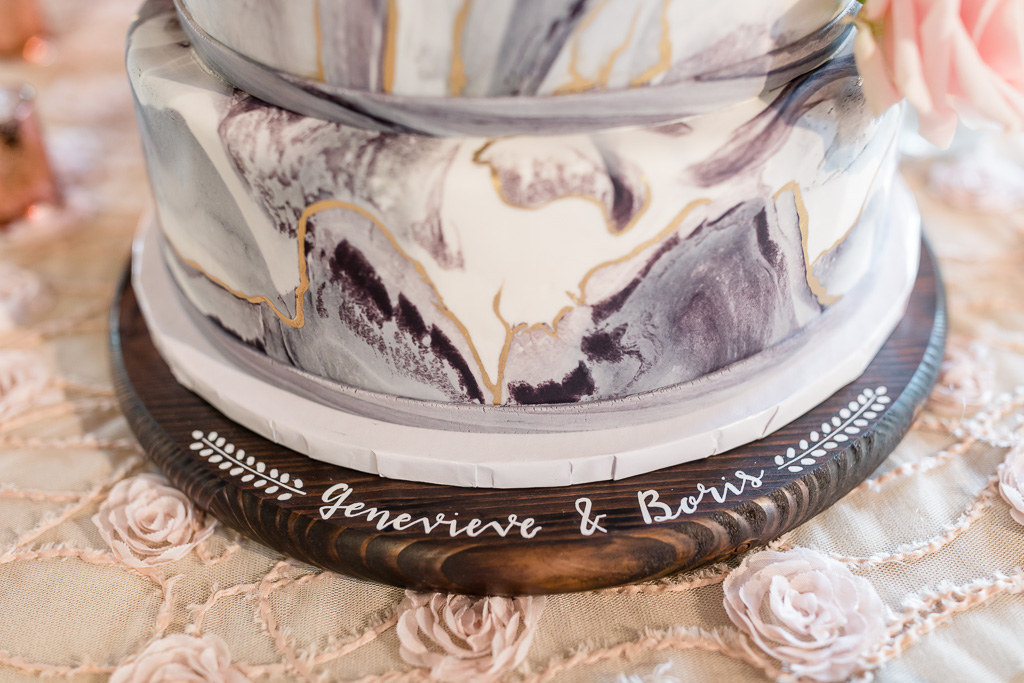 timeless wooden engraved wedding cake stand