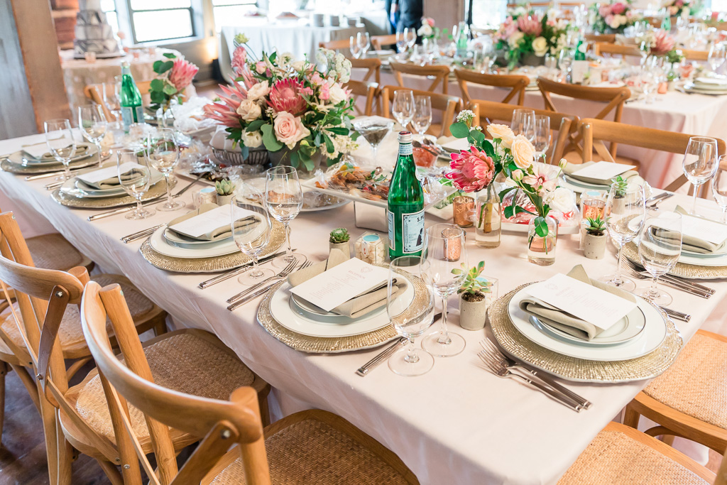 Reception table setting at the Gardens at Heather Farm
