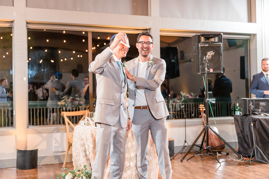 he caught the garter, but there were only two people in line