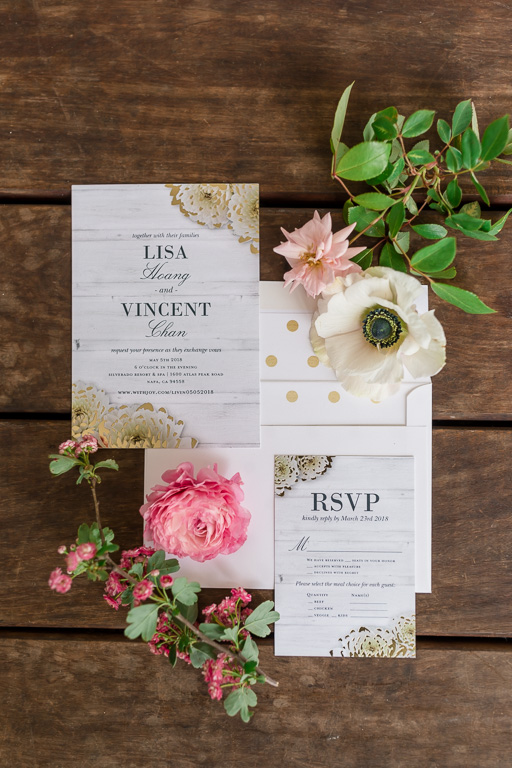 wedding invitation suite with flowers taken by napa wedding photographer