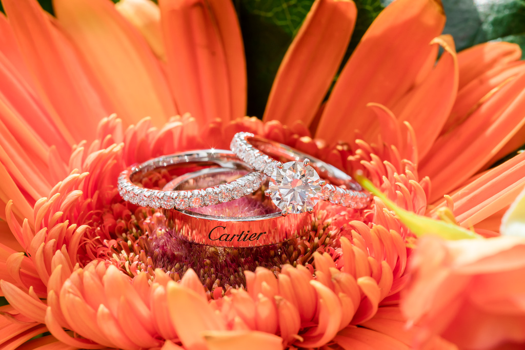 shiny reflective Cartier wedding and engagement rings inside a flower