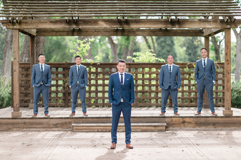 groom with his groomsmen at Silverado Grove in Napa