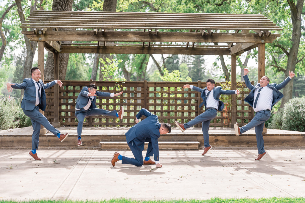 funny wedding groom superhero ground punch knocking groomsmen back