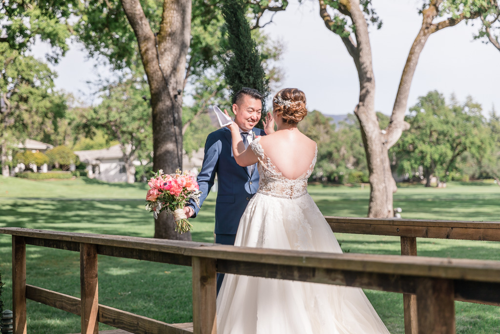 private vow exchange on a little bridge at Silverado Resort & Spa