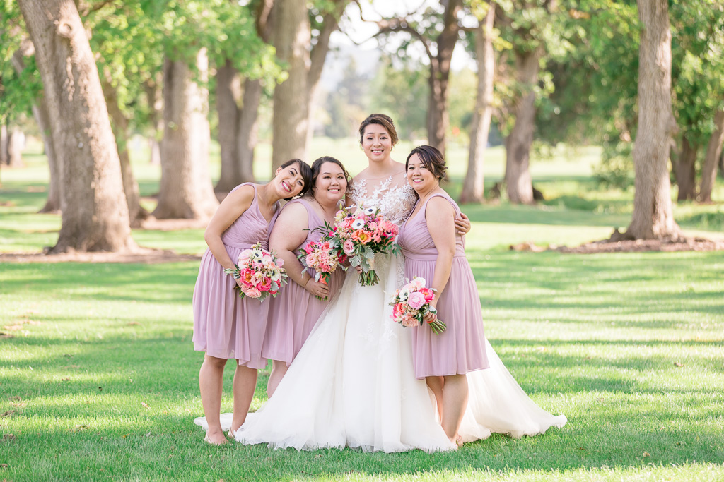 bride with her three bridesmaids at the Silverado Resort Grove area