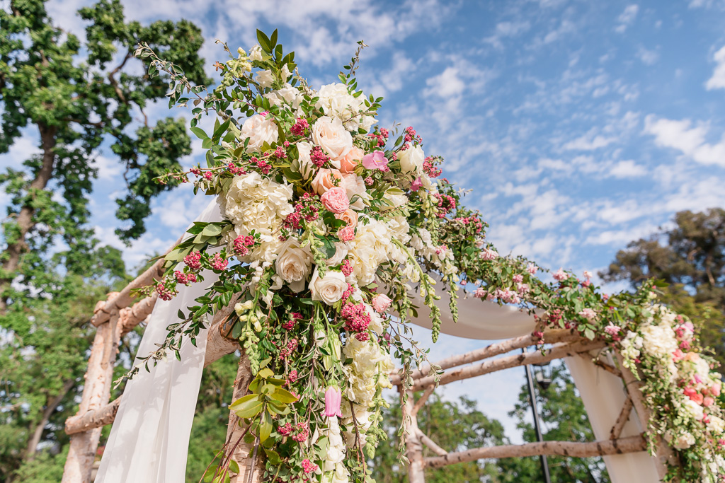 beautiful elegant flower arch for wedding ceremony