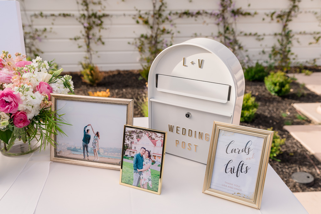 wedding card box and gift table with photos