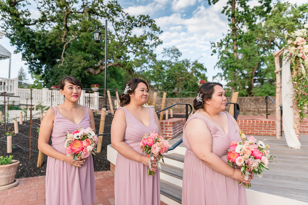 bridesmaids during ceremony