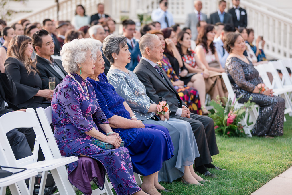 family and guests at wedding ceremony