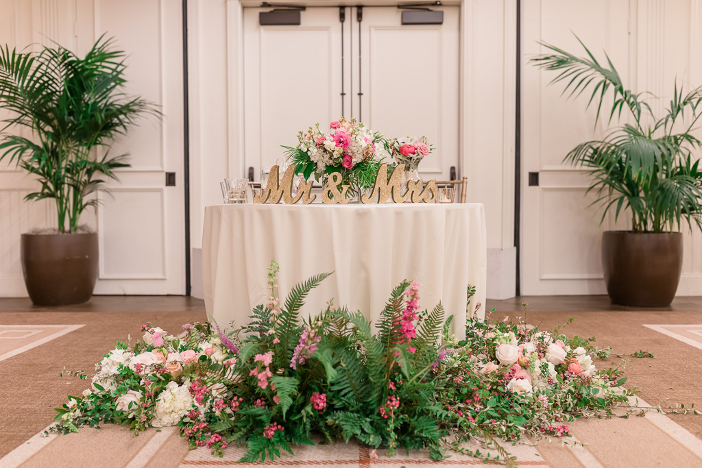 extravagant floral decoration at the head table