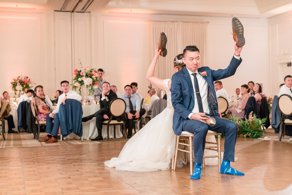 funny wedding shoe game at Silverado Resort ballroom