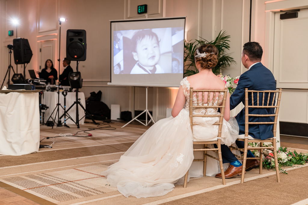 wedding slideshow during reception