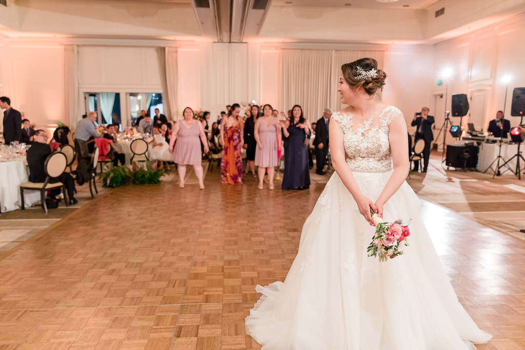 bouquet toss at Silverado Resort ballroom