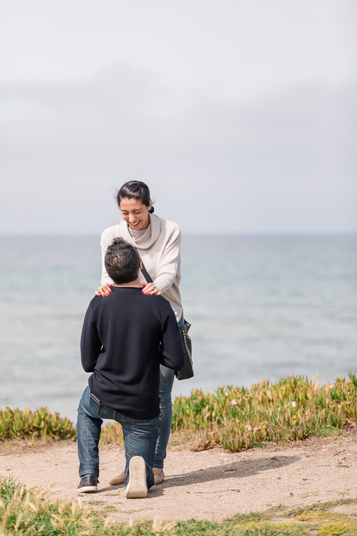 Half Moon Bay surprise proposal down on one knee