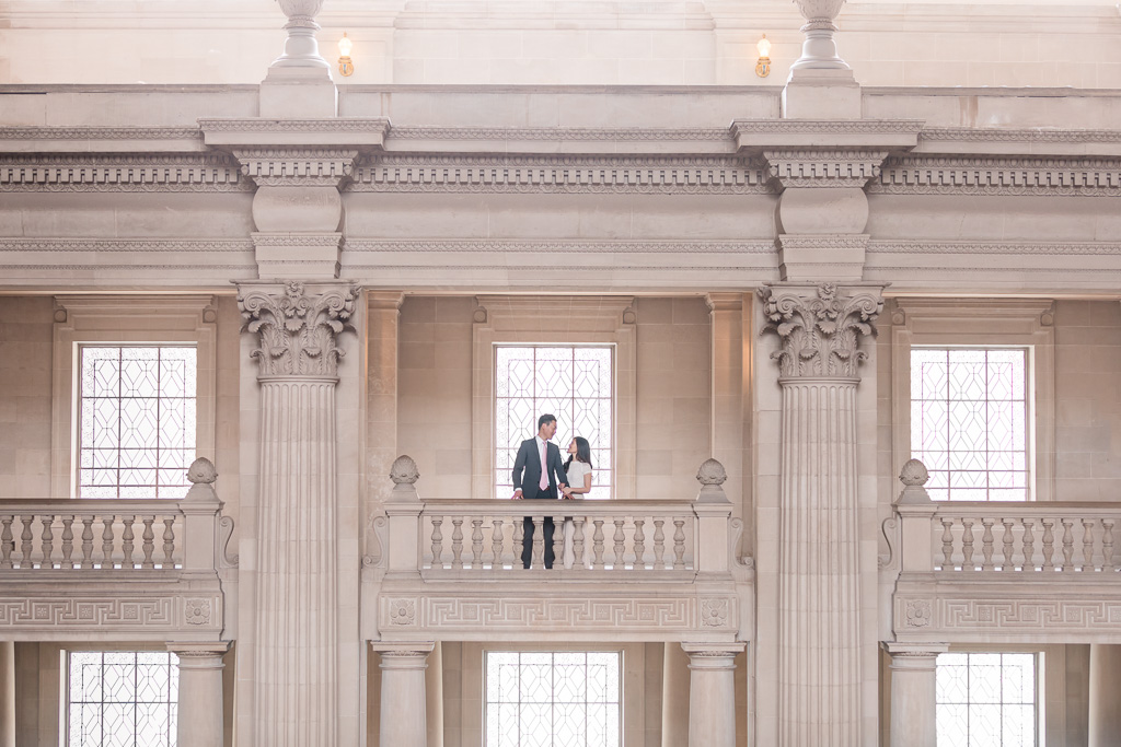 City Hall interior architecture with couple