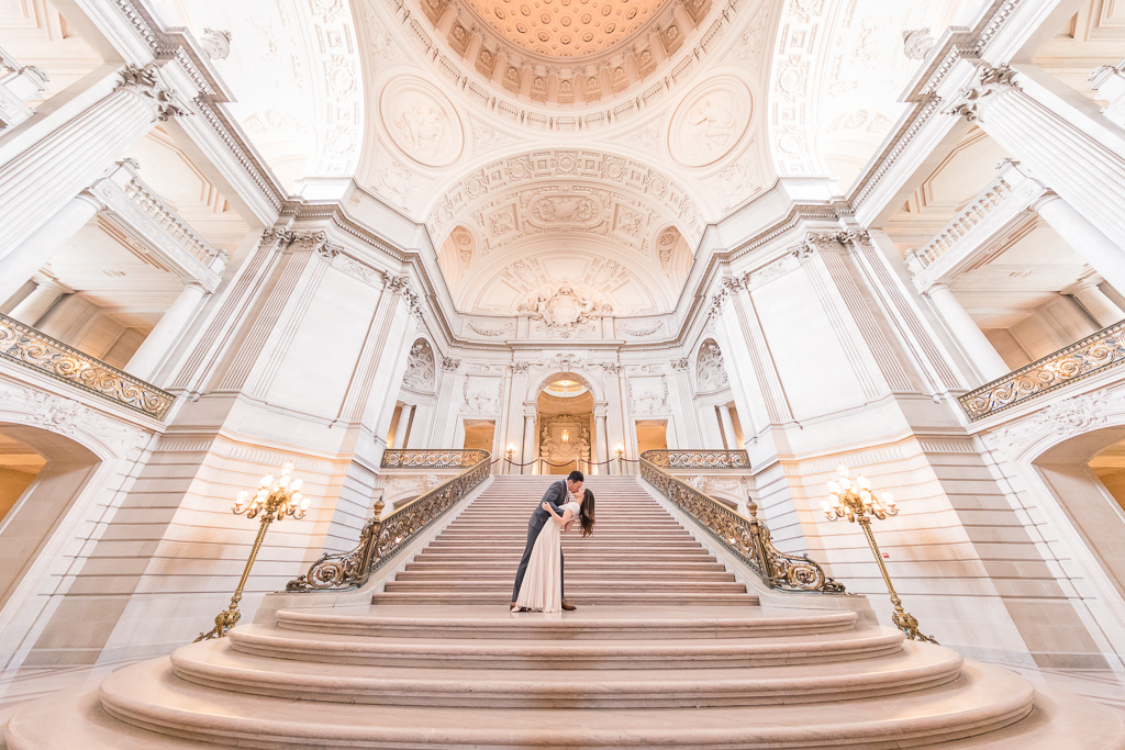 San Francisco City Hall wedding photo on the grand staircase