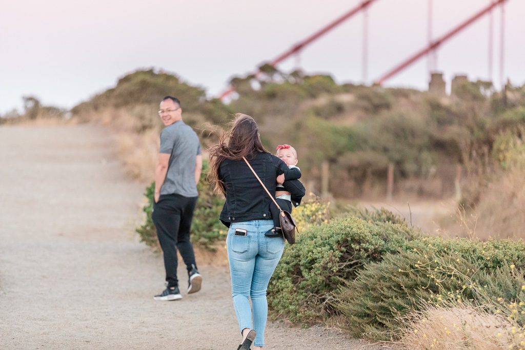 couple walks along the battery spencer trail