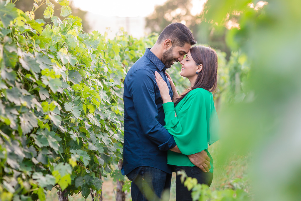 engagement photo in vineyards at calistoga ranch in napa
