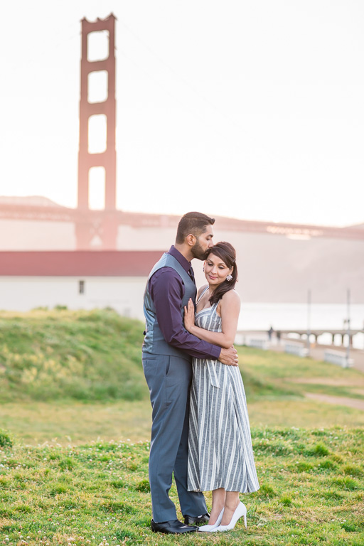 golden gate bridge engagement couple portrait