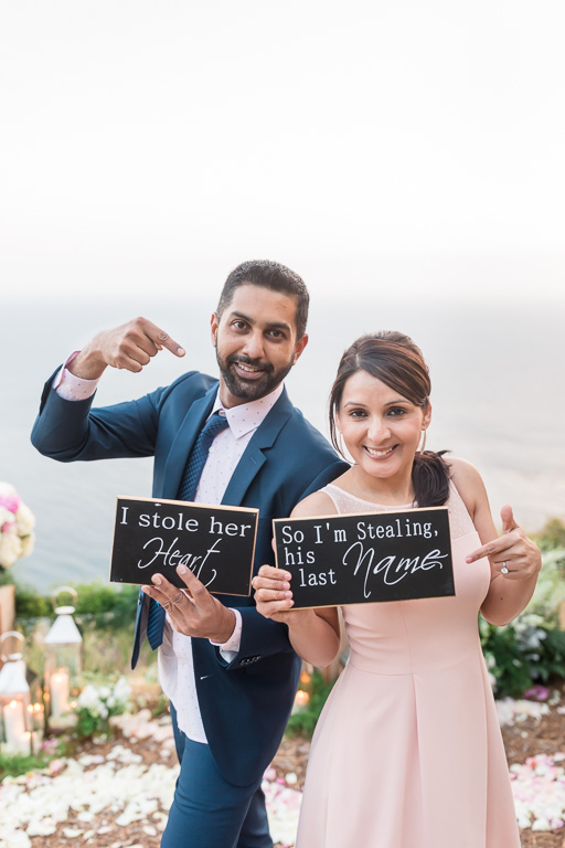 post proposal photo with funny signs