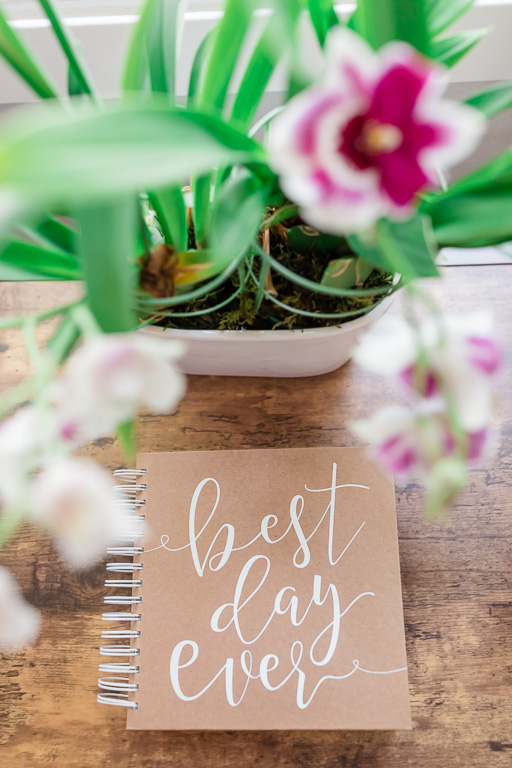 cute wedding details - best day ever notebook