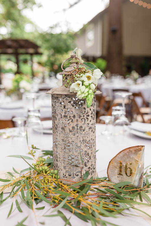 deer park villa wedding reception centerpiece