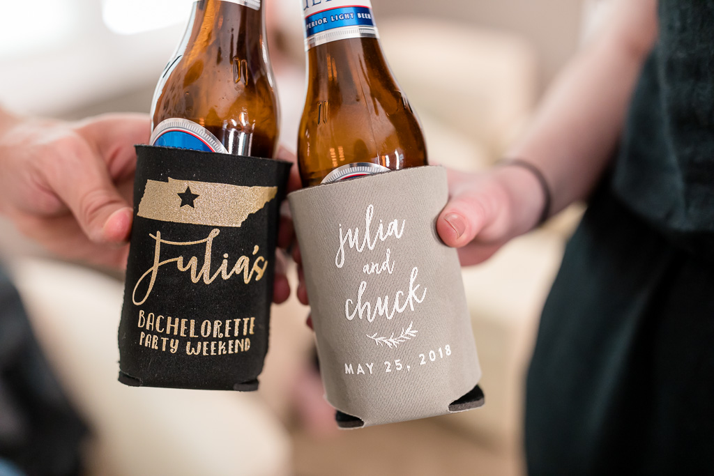 customized wedding koozie