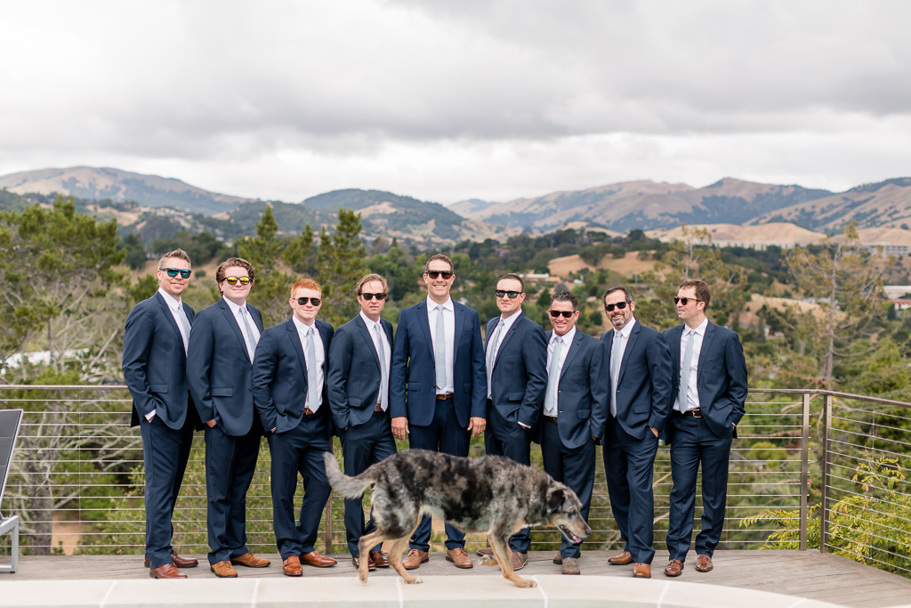 deer park villa wedding - groom and groomsmen got ready at an airbnb in San Rafeal with a gorgeous view overlooking the mountains