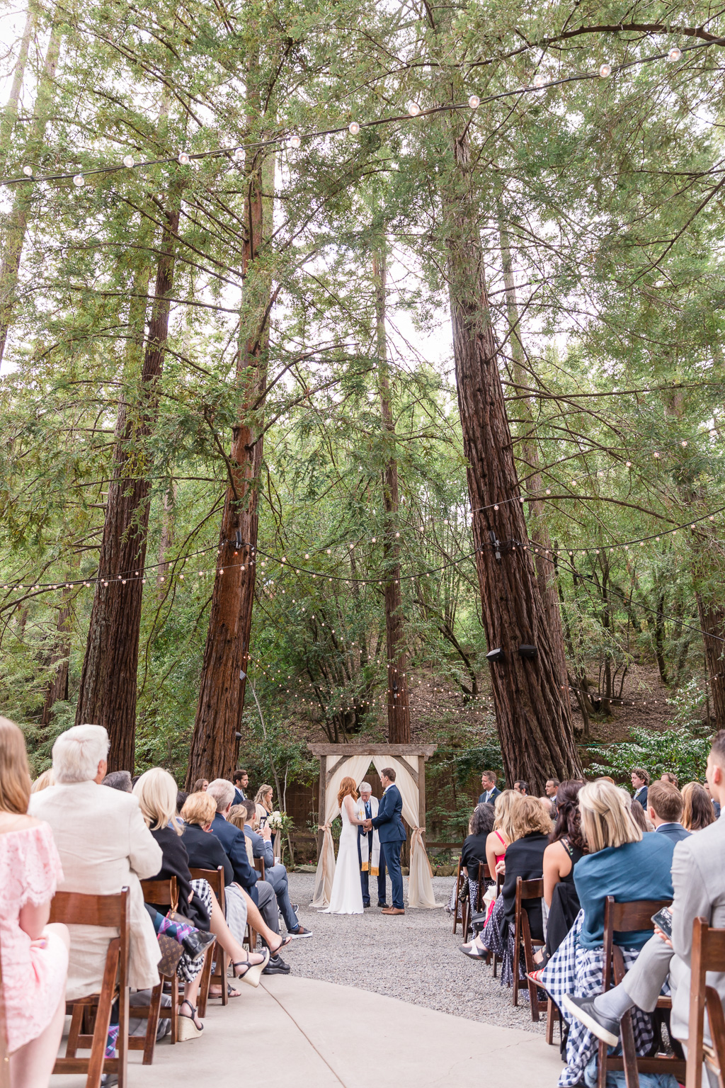 deer park villa wedding ceremony surrounded by the redwoods