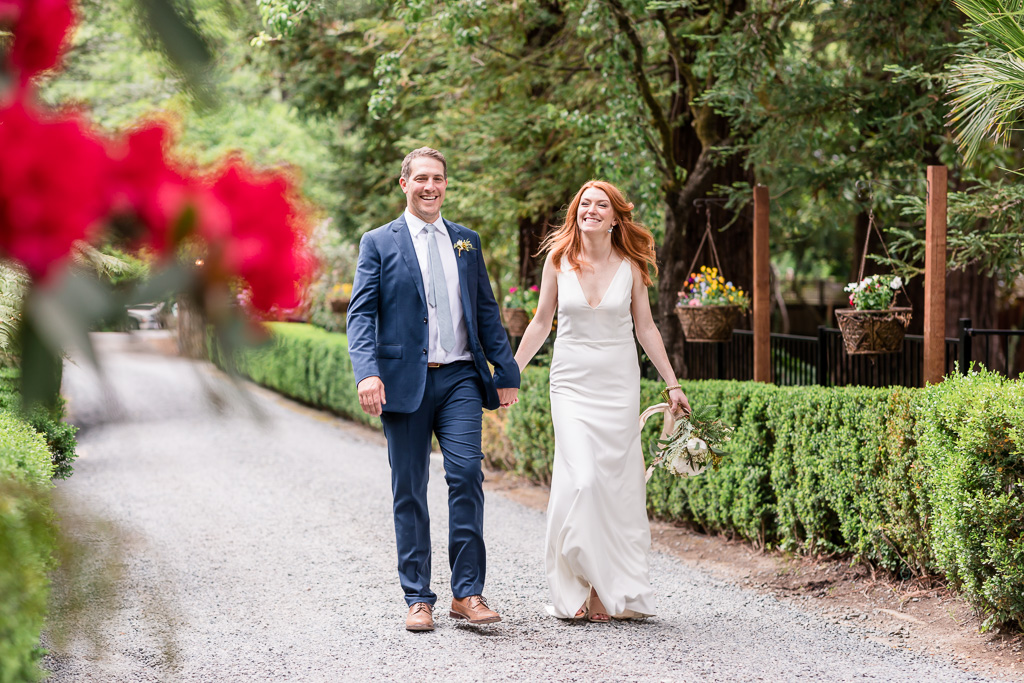 deer park villa wedding portrait walking on the property