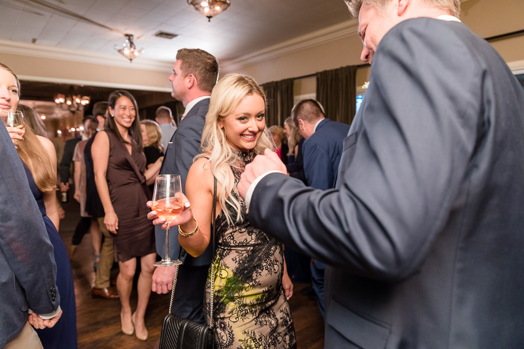guests enjoying the music and the wine on the dance floor