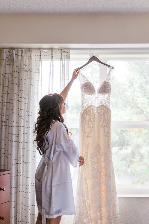 bride with her wedding gown