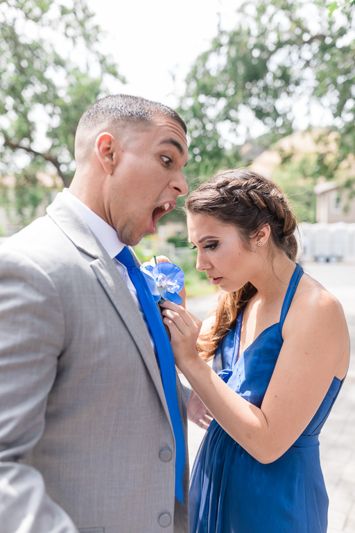 funny groomsman and bridesmaid candid moment