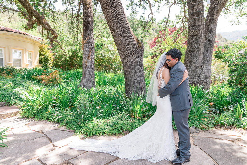 San Jose private residence wedding - first look in the garden