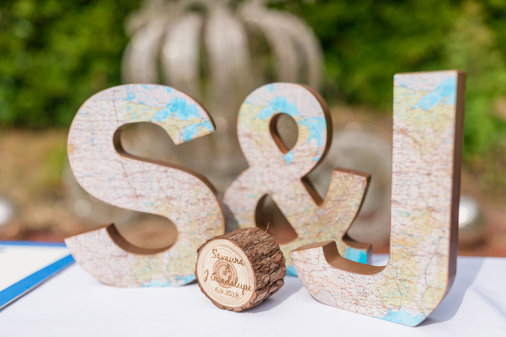 bride and groom wooden initial letters for sign in table