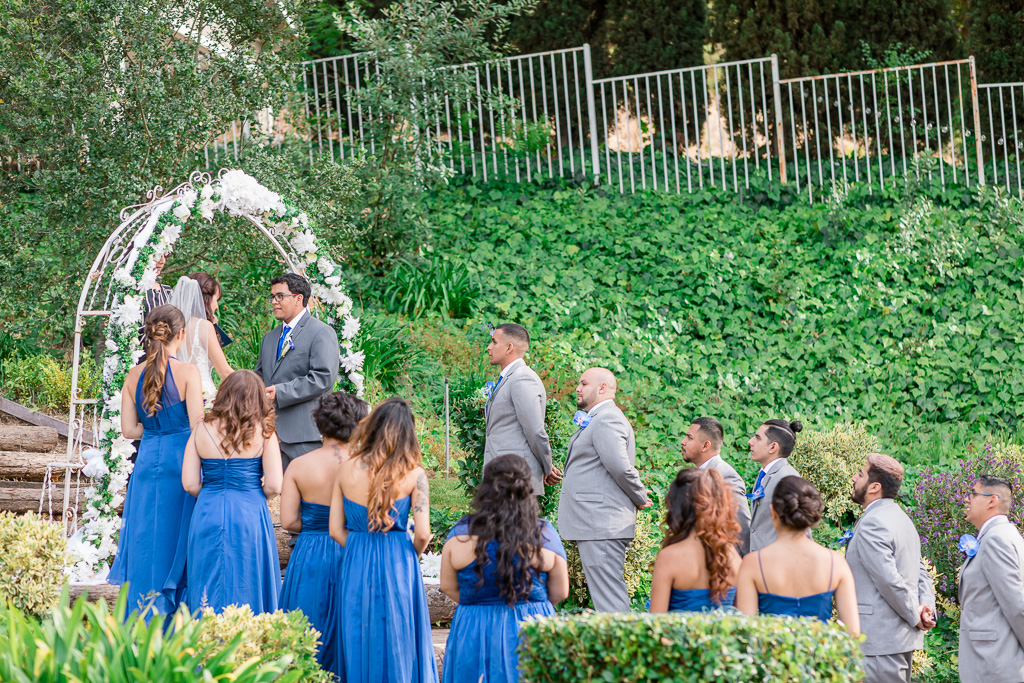 wedding ceremony up on a staircase