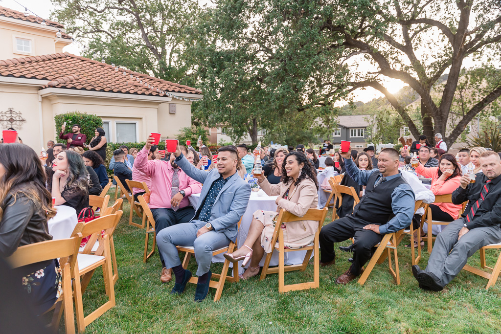 an outdoor private residence wedding reception in San Jose
