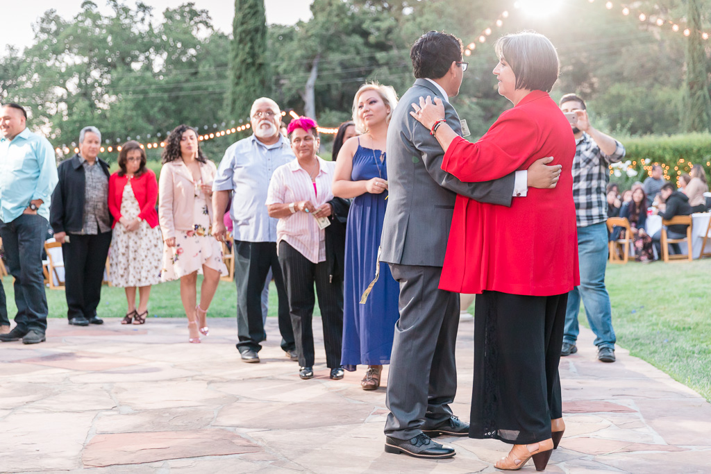 wedding guests lining up for the money dance