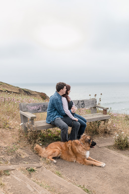 engagement photo on a bench overlooking the Pacific Ocean