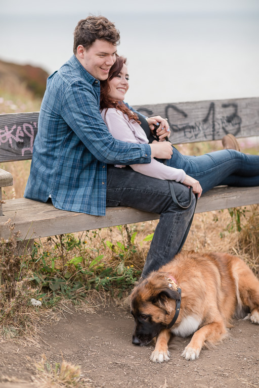 lifestyle engagement photo on a bench