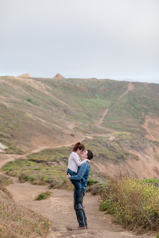 Mori Point couple portrait on the hiking trail