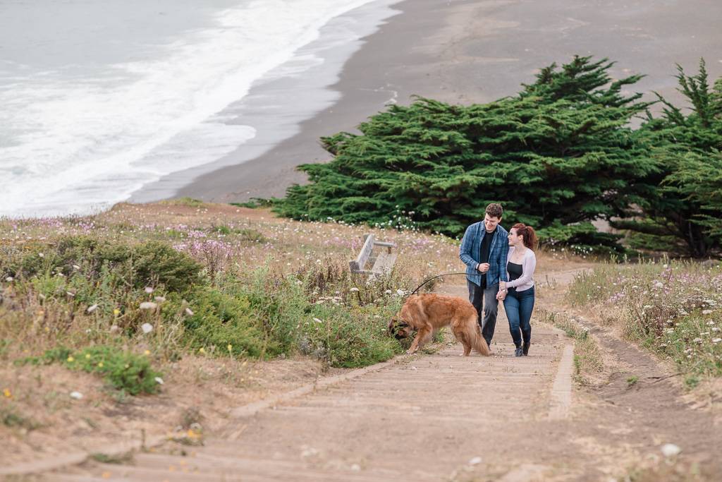 Pacifica engagement photo at Mori Point hiking trail