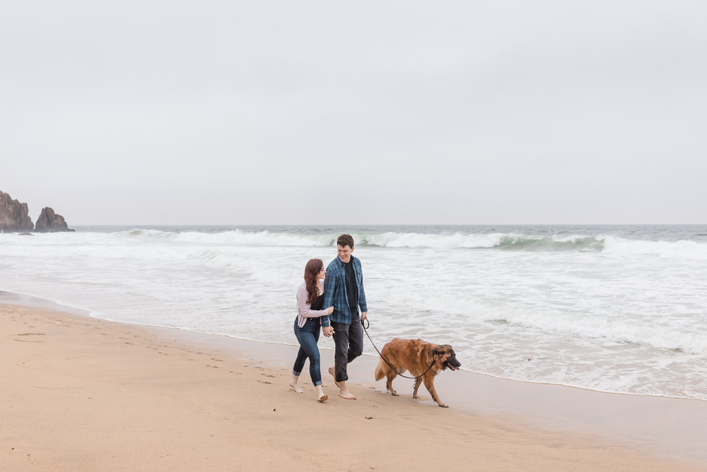 beach engagement photo with dog