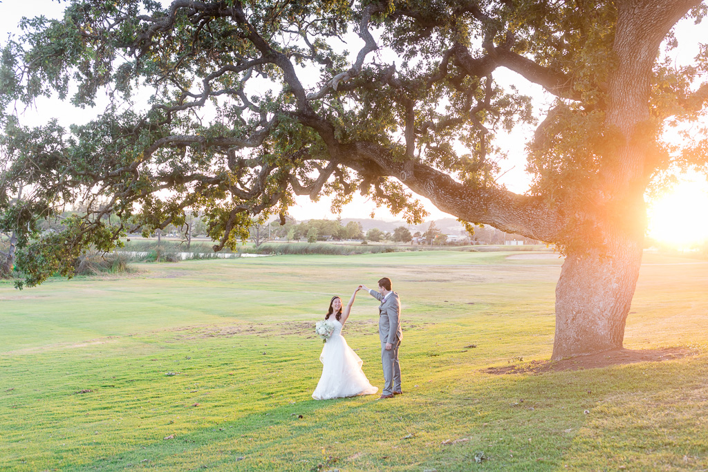 ultra romantic Napa valley summer wedding out on a open field with golden sunlight hitting on a giant oak tree